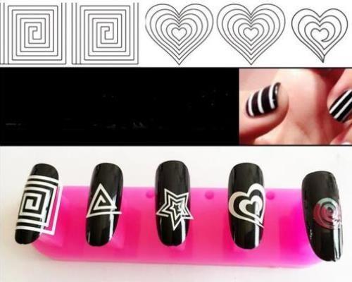 24-Стили-Французский-маникюр-DIY-3D-Дизайн-ногтей-Советы-Гиды-Наклейки-трафарет-полосы-ногтей-полые-наклейки